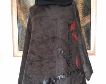 Cape wool flowers red and black leather