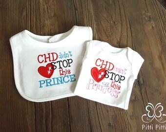 CHD ( Congenital Heart Defect  awareness ) baby Girl / Boy  Appliqued Short sleeve Bodysuit/ Shirt or Bib