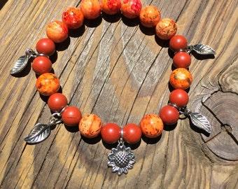 Orange Sunflower Bracelet