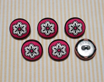 6 White Big Flower Pattern Fabric Covered Buttons - Pink (20mm) (Metal Shanks, Metal Flatbacks)