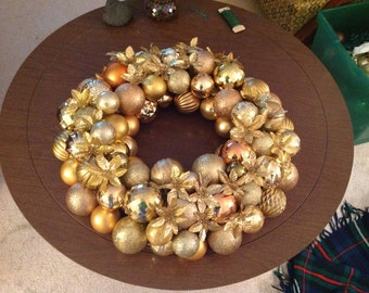 Gold & Champagne Christmas Ball Wreath