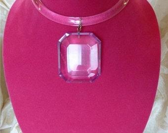 Vintage Modernist Judith Hendler Lucite Acrylic Collar Ring Necklace W/Pendant!
