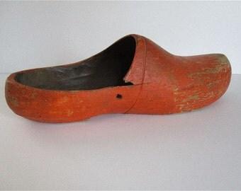 Vintage Wooden Shoe Orange