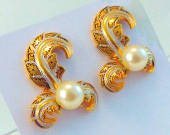 Vintage, Damascene, Toledo, feather earrings, vintage earrings, vintage Damascene earrings, Damascene clip on earrings, wedding earrings