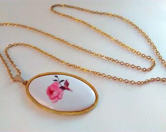 vintage, flower pendant, vintage pendant, rose, ceramic flower necklace, ceramic pendant, vintage necklace, rose pendant, rose necklace,