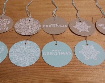Blue, White and Brown Embossed Christmas Gift Tags - set of 10