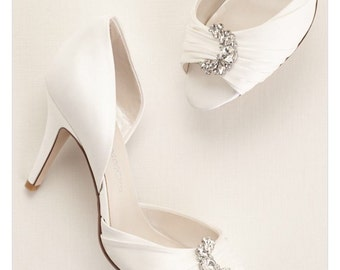 Satin Peep Toe shoes with Crystal Ornament, Custom Ivory satin wedding shoes, Satin bridal shoes