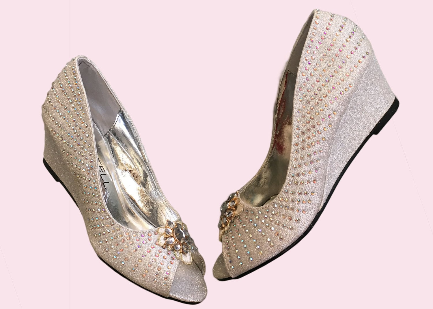 Crystal Lace Bridal Bridesmaid Wedge Wedding Shoes