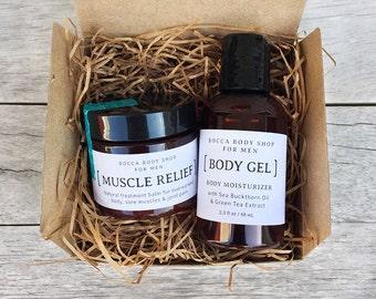 Skin Care Gift for Him, Skin Care Kit, Mens Gift, Spa Gift Set for Men, Bath Gift Set, Healing Balm, Body Gel, Bath and Body Set