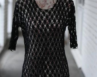 Crochet  Black cotton blouse/ Summer blouse/Short Sleeves
