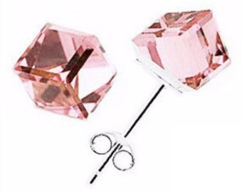 Crystal Cube Stud Earrings - Free Shipping