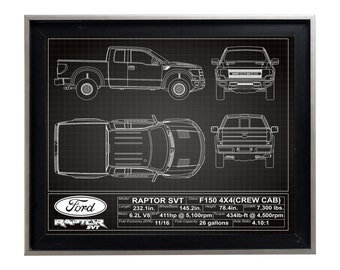 Ford F150 Raptor SVT Blueprint Poster Print Matte F-150 Schematic Diagram