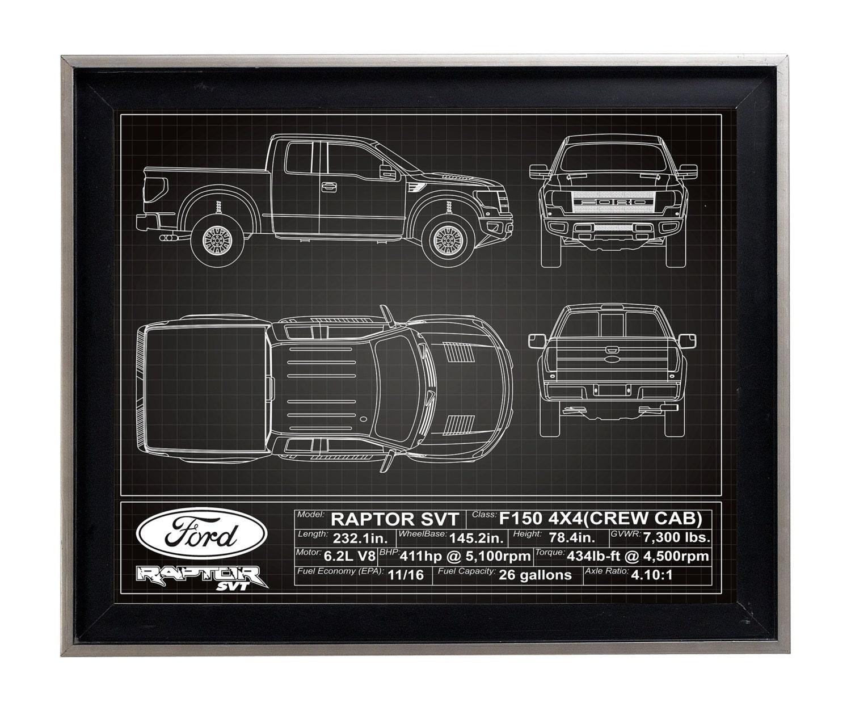Ford F150 Raptor Svt Blueprint Poster Print Matte F
