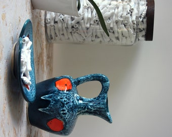 Decanter or vase & his tidy matching ceramic vintage 70's - set