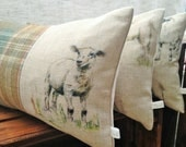 Handmade Sheep Cushion, Clarke & Clarke Linen and Pure Highland Wool, Tartan, Plaid, British Countryside, Farm Animals