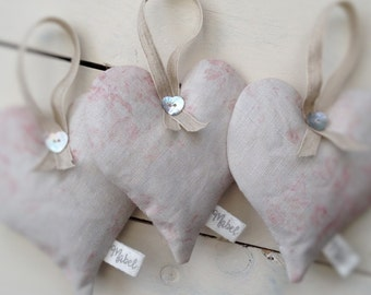Handmade Lavender Heart, Girls Room, Peony & Sage Linen,  Millie Powder Pinks, Vintage Inspired, Lavender Sachet