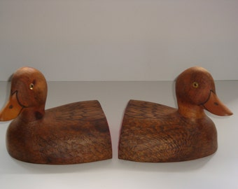 Carved Wooden Duck Bookends