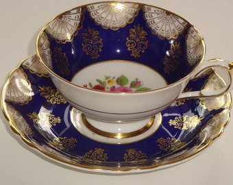 DW Paragon Floral, Gold on Cobalt Gold Tea Cup and Saucer ~ 3948/8