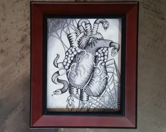 Heart Full of Snakes Original Ink Illustration