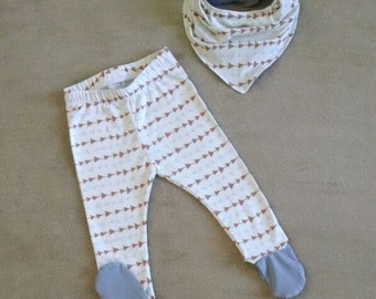Baby Boy Footie Leggings and Bandanna Drool Bib Set. Gray and Tan Arrow Pattern. Grays, Creams, Tans. Hankie bib. ONE AVAILABLE!
