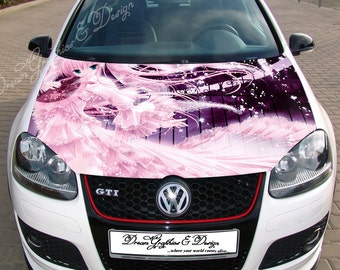 Anime Hood Decal Etsy - Custom vinyl decals for car hoodsowl full color graphics adhesive vinyl sticker fit any car hood