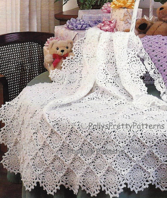 Crochet Pattern For Infant Hat With Ear Flaps : PDF Crochet Pattern Scalloped Edged Motif Baby Shawl/Afghan