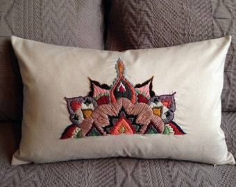 embroidered mandala cushion