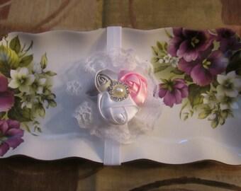 Mini Rosette's trio headband Christening baptism-Birthdays