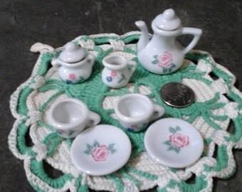 Miniature Dollhouse tea set Vintage Flower Roses Antique Cram and Sugar Toy Pretend Play