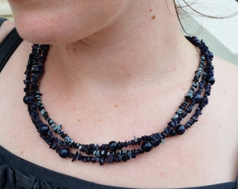 Black goldstone and snow stone necklace