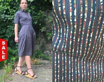 SALE -25% OFF Vintage Jaeger Dress 80's Shirt Stripedress Knee length Women dresses Pleated Work dress Day dress Short sleeves Summer dress