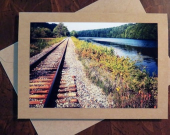 Railroad & River.  Photo Greeting/Note Card.  Blank Inside.