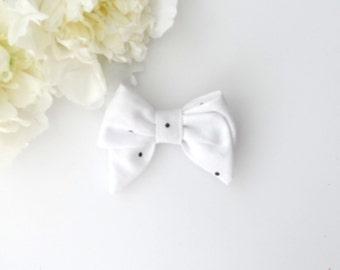White Polka Dot Bow