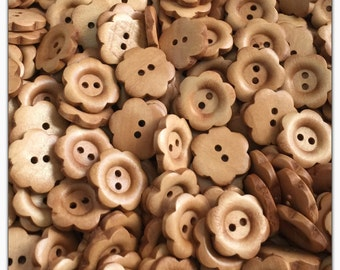 """10 or 20 Wood flower buttons, novelty, wood buttons, scrapbooking sewing, crafts 20mm 3/4"""" 20 mm 3/4 inch natural"""