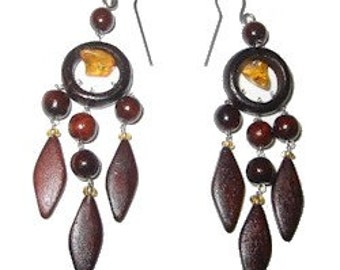 Wooden Earrings, very cute and playful, dangle earrings,~2 1/4in, made out of wood and amber. Great Gift!