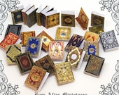 28 Dollhouse Miniature Book Cover Set 4 – Collection of 28 Antique ROYALTY Book Cover - 1:12 Scale Printable Dollhouse Book Cover DOWNLOAD