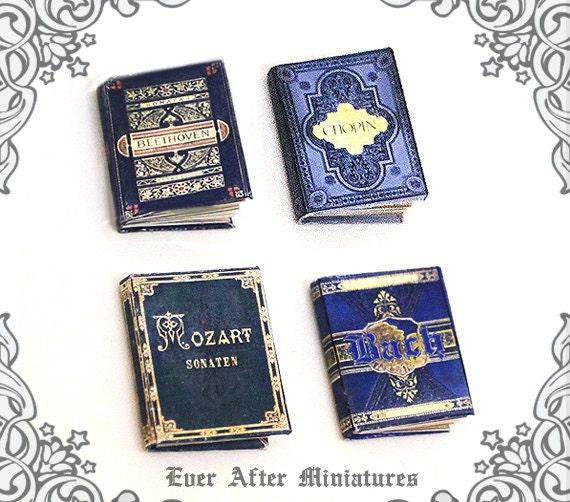 4 Music Sheet Dollhouse Miniature Books 1:12 Full Set Of 4