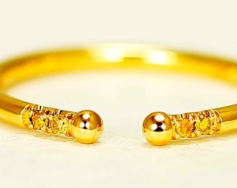 14k Yellow Gold Band With Yellow Diamonds, Delicate Yellow Gold Thin Band with Diamonds, Stackable Ring with Yellow Diamonds