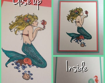 Set of 4 Mermaid Cards Handmade