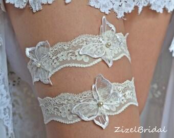 Wedding Clothing, Wedding Garter Set, Garter, Ivory Lace Garte, Butterflies  Garter, Bridal Garter Set Ivory Wedding Garter, Handmade Garter