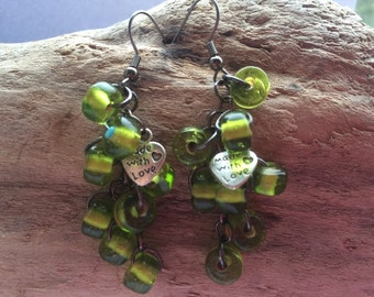 Upcycled  Handmade green glass bead earrings