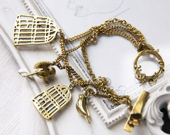 Vintage Styles Birdcages and Bird Charm Bracelet