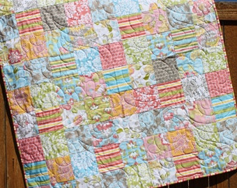 Priscilla Baby Quilt, Toddler Quilt, Handmade Quilt, Baby Girl Quilt, Pink Gray Green Blue White Yellow, Modern Baby Quilt, Pastel Quilt