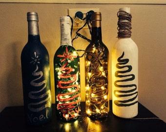 Hand Painted Upcycled Wine Bottle
