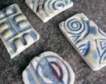 Ceramic mosaic tiles, blue mosaic tile, porcelain mosaic tiles, ceramic jewelry components, porcelain jewelry components, mosaic supplies