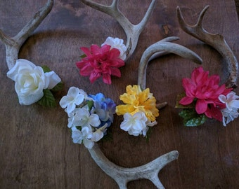 Floral Whitetail Deer Antlers - jewelry rack/home decor