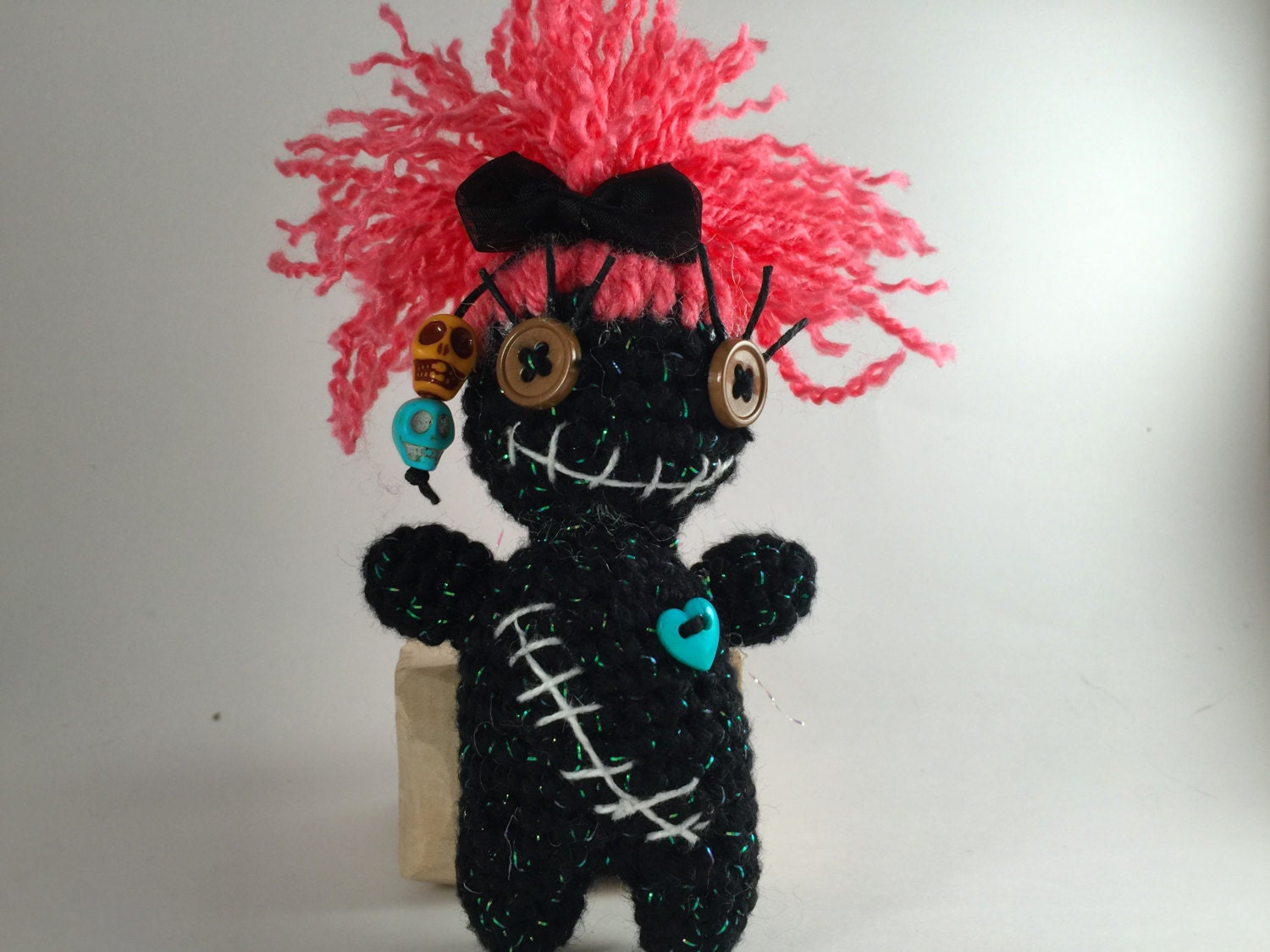 Creepy and Cute Voodoo Doll Pink and Black Voodoo Doll