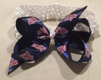 St. Louis Cardinals royal blue basic bow attached to white headband