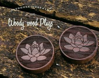 lotus plugs wood- plugs from brazil nut wood - lotus plugs - plugs wood- wooden ear plugs  - personalized plugs - custom plugs