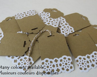 "Party Favor Tags, Gift Tags, Wedding Tags, Place Tag, Shower Tags ""lace"" (12) Many colours availables."
